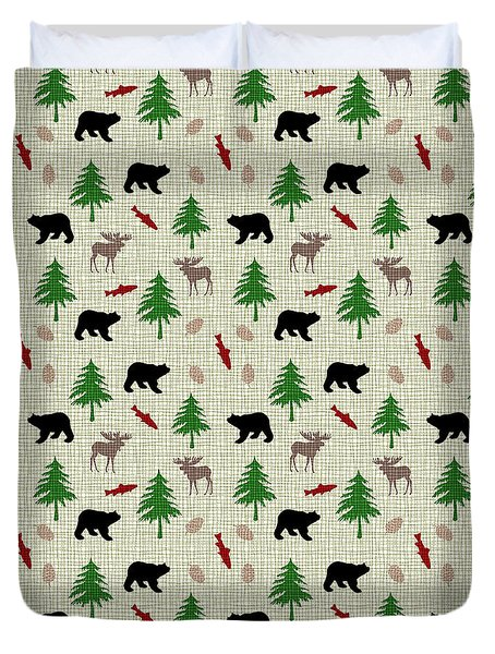 Moose And Bear Pattern Duvet Cover