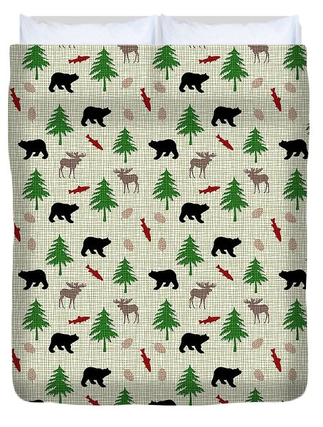 Moose And Bear Pattern Duvet Cover by Christina Rollo