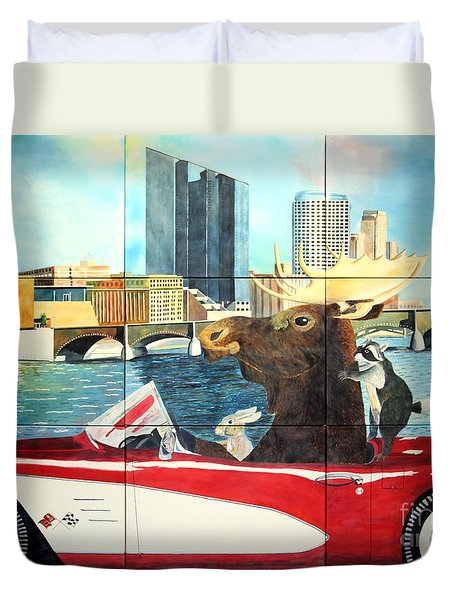 Duvet Cover featuring the painting Moose Rapids Il by LeAnne Sowa