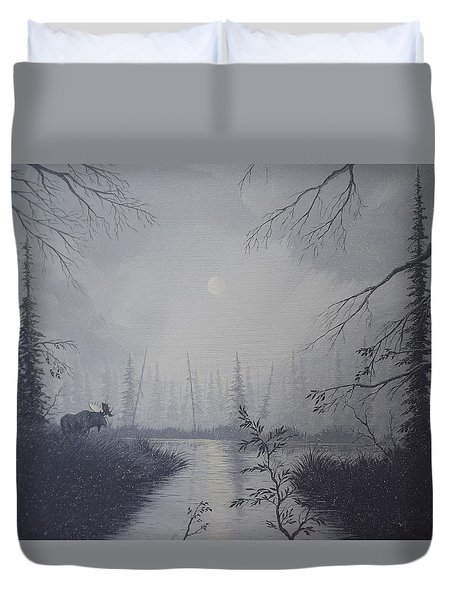 Duvet Cover featuring the painting Moose Swanson River Alaska by Richard Faulkner