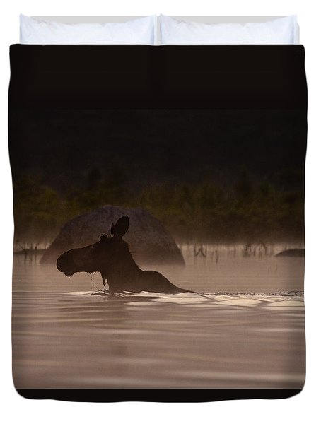 Duvet Cover featuring the photograph Moose Swim by Brent L Ander