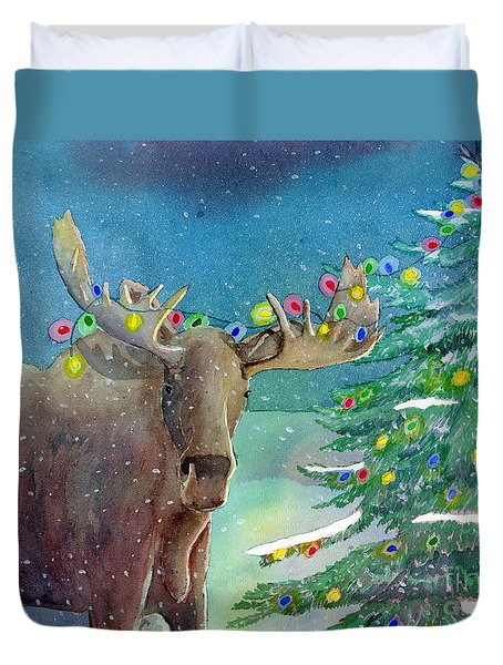 Duvet Cover featuring the painting Moosey Christmas by LeAnne Sowa