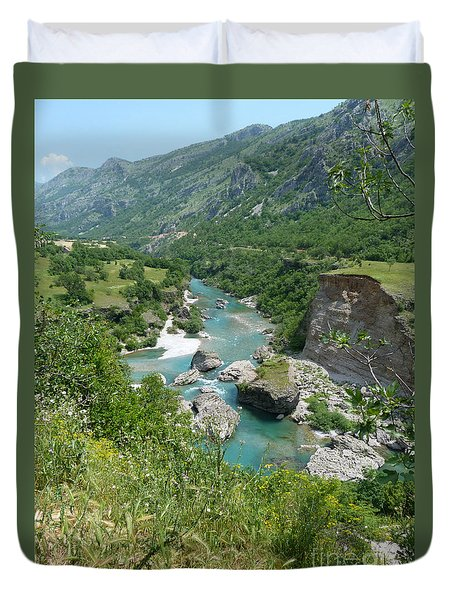 Duvet Cover featuring the photograph Moraca River - Montenegro by Phil Banks