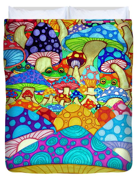 More Frogs Toads And Magic Mushrooms Duvet Cover