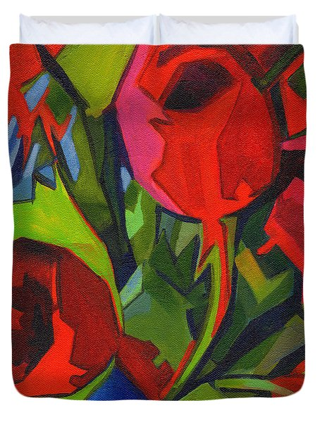 More Red Tulips  Duvet Cover
