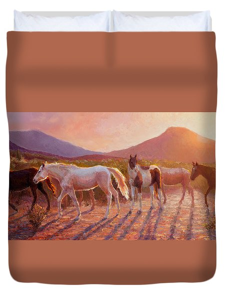 More Than Light Arizona Sunset And Wild Horses Duvet Cover