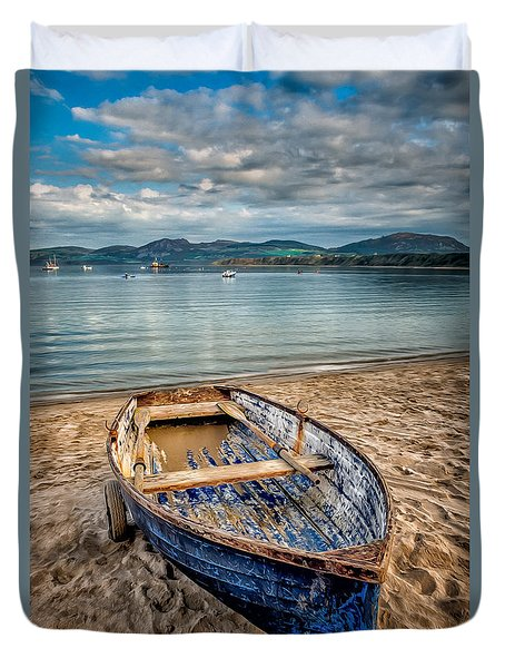 Duvet Cover featuring the photograph Morfa Nefyn Boat by Adrian Evans