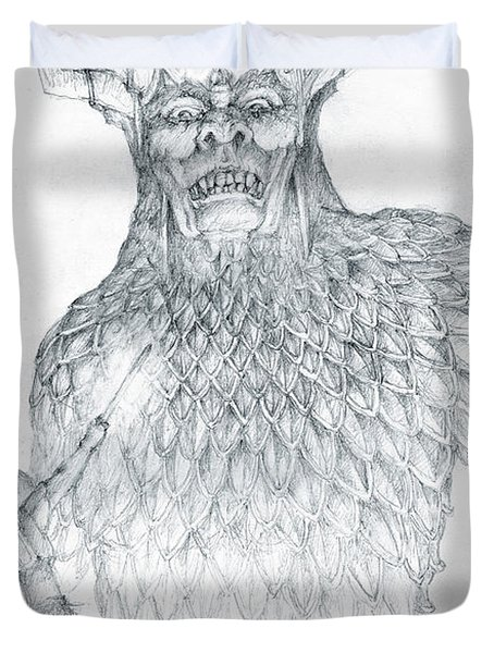 Duvet Cover featuring the drawing Morgoth And Fingolfin by Curtiss Shaffer