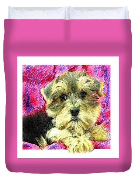 Morkie Puppy Duvet Cover by Jane Schnetlage