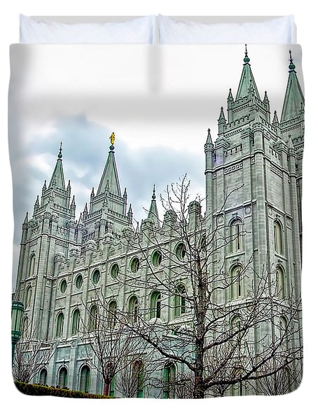 Mormon Temple In Early Spring Duvet Cover by Gary Holmes