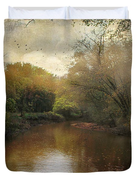Duvet Cover featuring the photograph Morning At The River by John Rivera