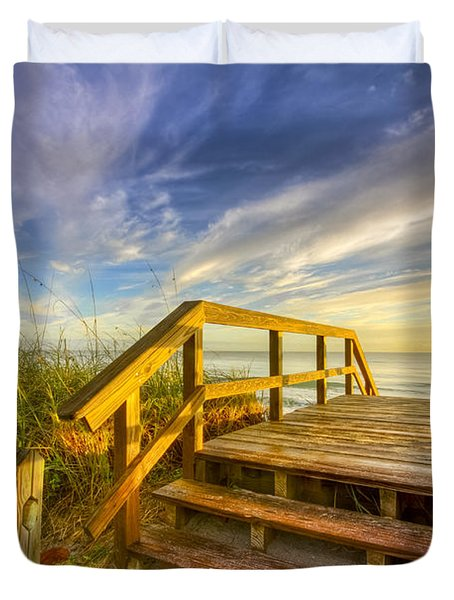 Morning Beach Walk Duvet Cover by Debra and Dave Vanderlaan