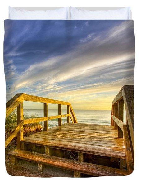 Morning Beach Walk Duvet Cover