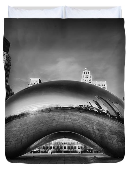 Morning Bean In Black And White Duvet Cover by Sebastian Musial