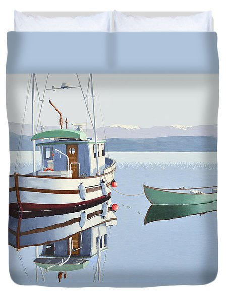 Duvet Cover featuring the painting Morning Calm-fishing Boat With Skiff by Gary Giacomelli