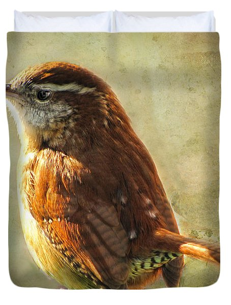 Morning Carolina Wren Duvet Cover