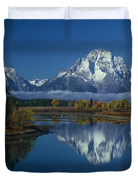 Duvet Cover featuring the photograph Morning Cloud Layer Oxbow Bend In Fall Grand Tetons National Park Wyoming by Dave Welling