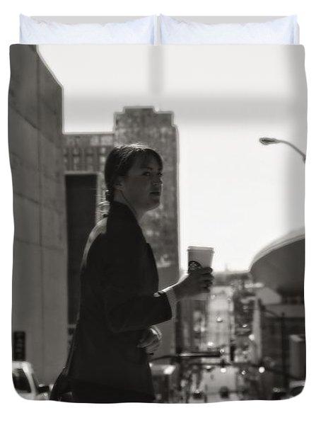 Morning Coffee At Starbucks In Nashville Duvet Cover by Dan Sproul