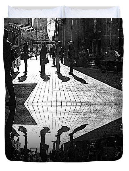 Duvet Cover featuring the photograph Morning Coffee Line On The Streets Of New York City by Lilliana Mendez
