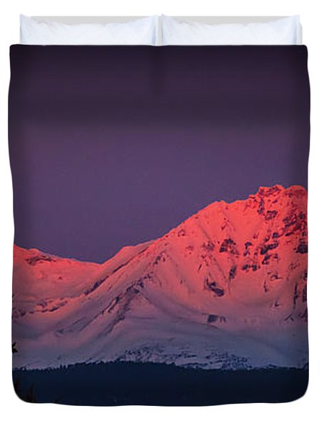 Morning Dawn On Two Of Three Sisters Mountain Tops In Oregon Duvet Cover