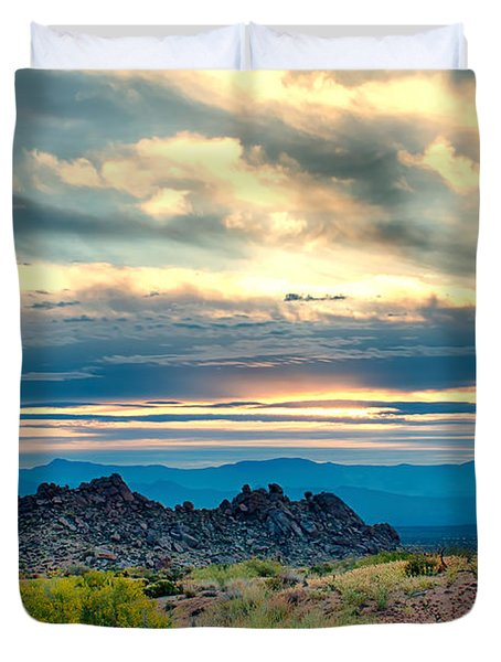Morning Desert Glow Duvet Cover by Fred Larson