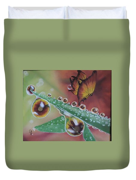 Duvet Cover featuring the painting Morning Dew by Dianna Lewis