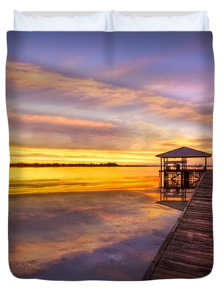 Morning Dock Duvet Cover by Debra and Dave Vanderlaan