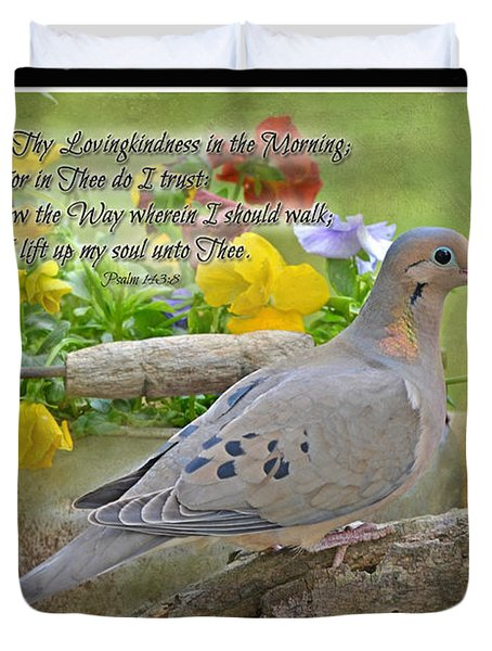Morning Dove With Verse Duvet Cover by Debbie Portwood