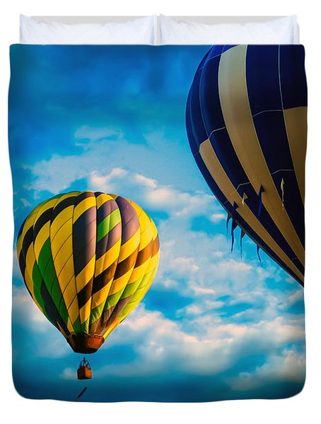 Morning Flight Hot Air Balloons Duvet Cover by Bob Orsillo