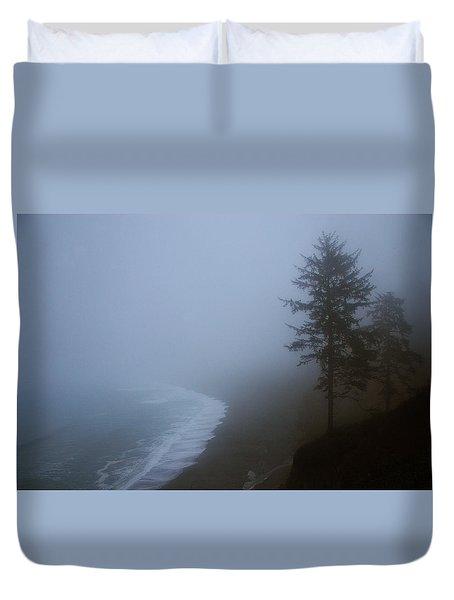 Morning Fog At Agate Beach Duvet Cover by Robert Woodward