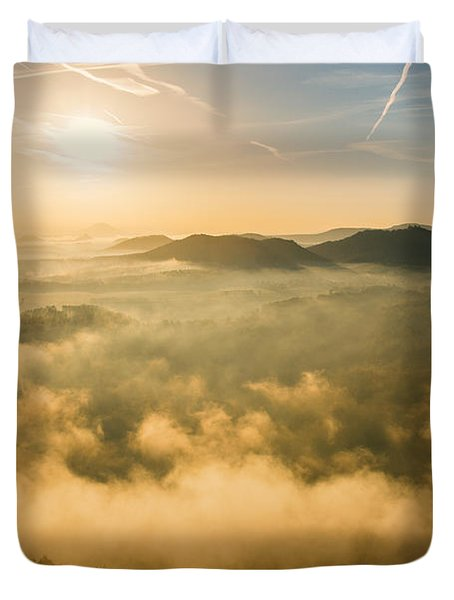 Morning Fog In The Saxon Switzerland Duvet Cover