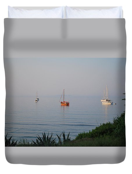Duvet Cover featuring the photograph Morning by George Katechis