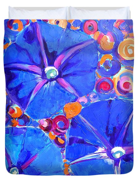 Morning Glory Flowers Duvet Cover by Ana Maria Edulescu