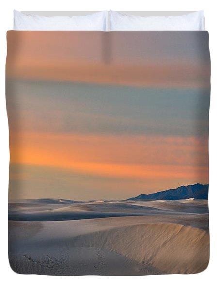 Morning Glory In White Sands Duvet Cover by Sandra Bronstein