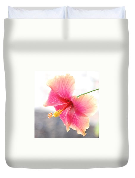 Morning Hibiscus In Gentle Light - Square Macro Duvet Cover