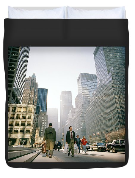 Morning In Manhattan Duvet Cover by Shaun Higson