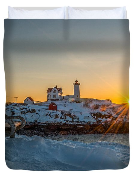 Morning Light At Nubble Lighthouse Duvet Cover