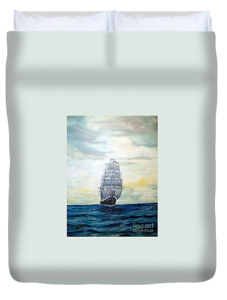Duvet Cover featuring the painting Morning Light On The Atlantic by Lee Piper