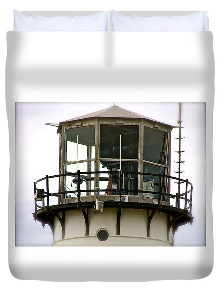 Morning Mist At Chatham Light Duvet Cover by Ira Shander