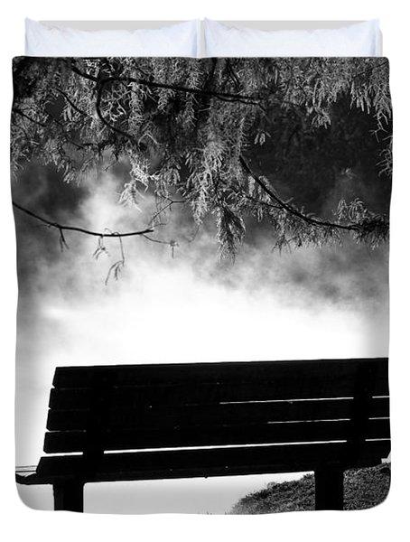 Morning Mist At The Spring Duvet Cover