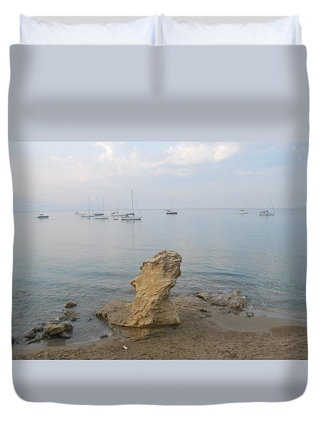 Duvet Cover featuring the photograph Morning Mist 2 by George Katechis