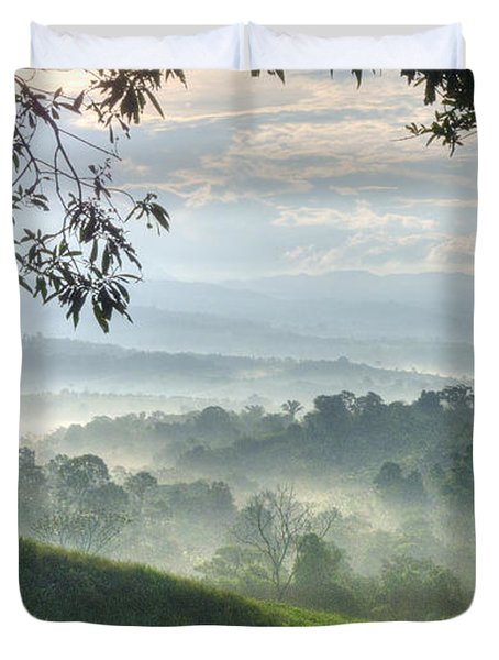 Duvet Cover featuring the photograph Morning Mist by Heiko Koehrer-Wagner
