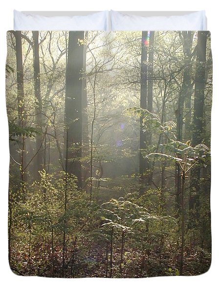 Morning Mist In The Forest Duvet Cover by Bill Cannon