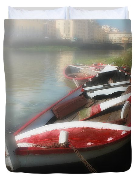 Morning Mist On The Arno River Italy Duvet Cover by Mike Nellums