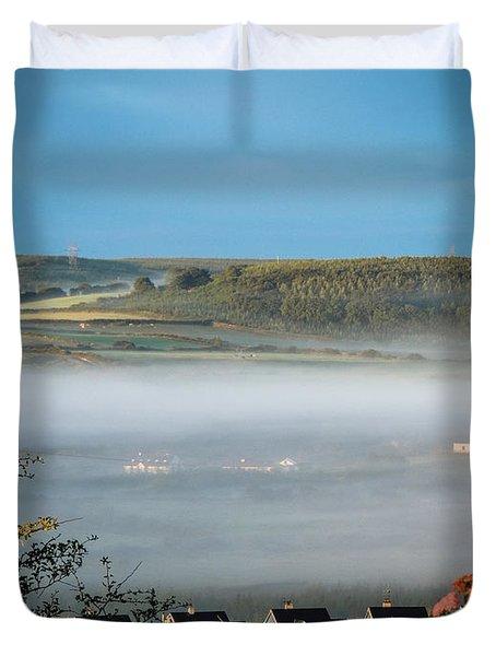 Morning Mist Over Lissycasey Duvet Cover