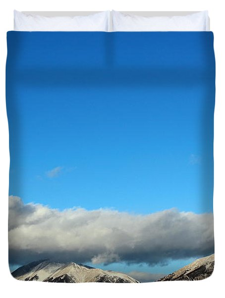 Duvet Cover featuring the photograph Morning Moon Over Spanish Peaks by Barbara Chichester