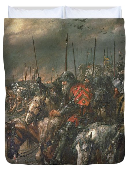 Morning Of The Battle Of Agincourt, 25th October 1415, 1884 Oil On Canvas Duvet Cover