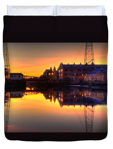 Morning On The River Duvet Cover by Bill Gallagher