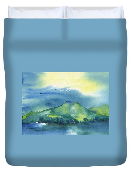 Duvet Cover featuring the painting Morning Over The Mountain by Frank Bright