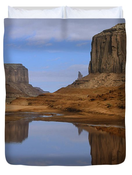 Morning Reflections In Monument Valley Duvet Cover by Sandra Bronstein